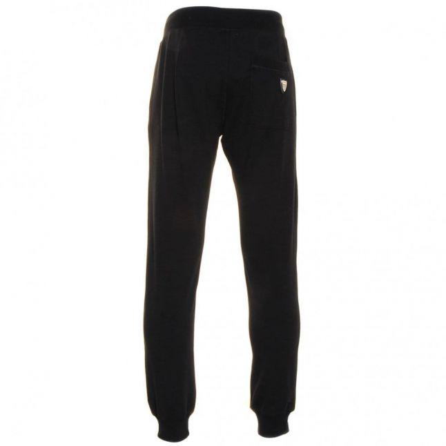 Mens Black Silver Label Fleece Track Pants
