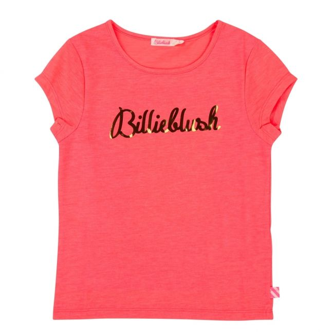 Girls Fuschia Gold Logo S/s T Shirt
