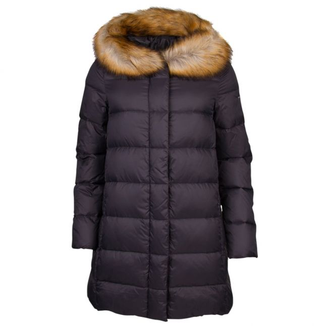 Womens Grey Fur Hood Down Jacket