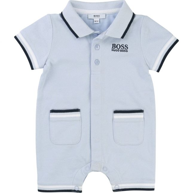 Baby Pale Blue Polo Romper