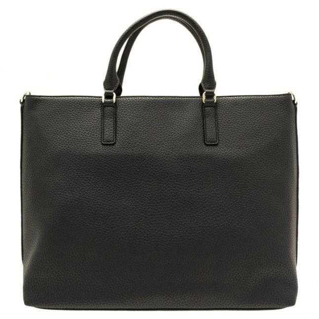 Womens Black Patent Panel Detail Shopper Bag