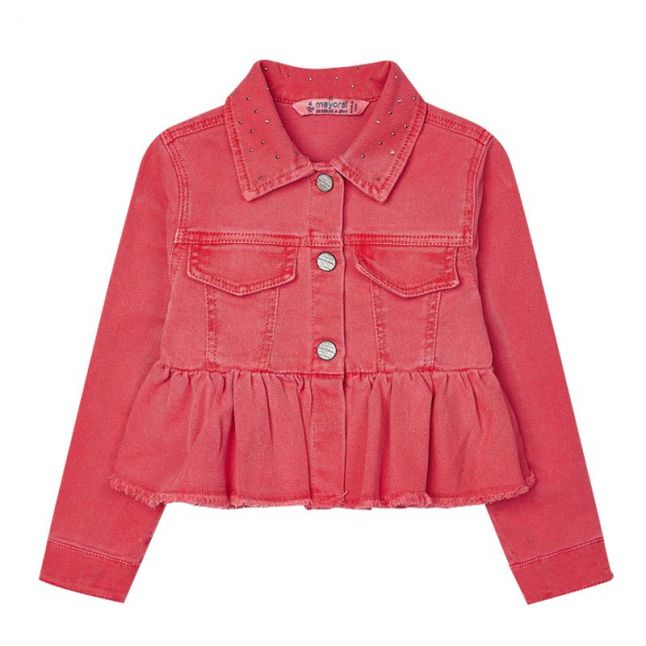 Girls Coral Twill Ruffle Jacket