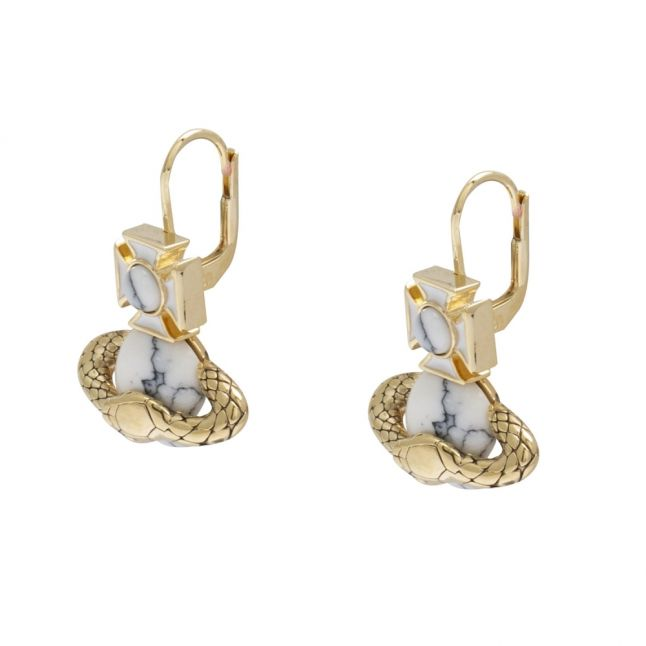 Womens Gold/White Ouroboros Drop Earrings