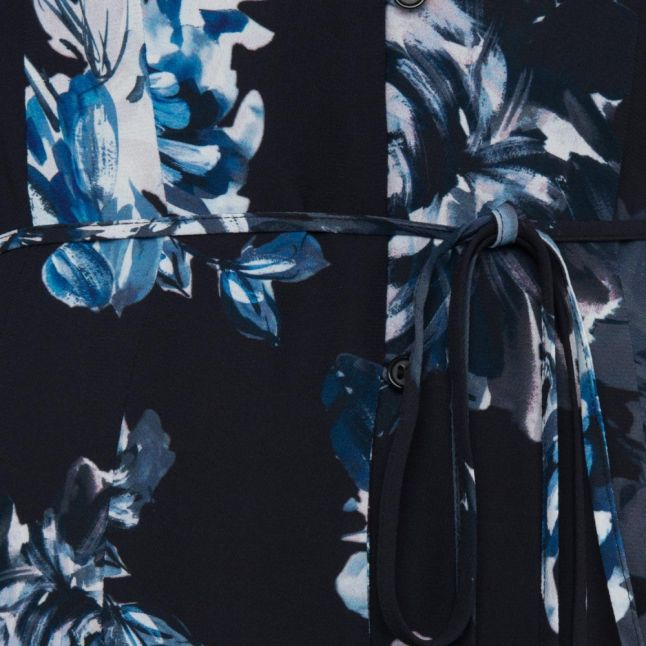 Womens Utility Blue Caterina Crepe Button Midi Dress