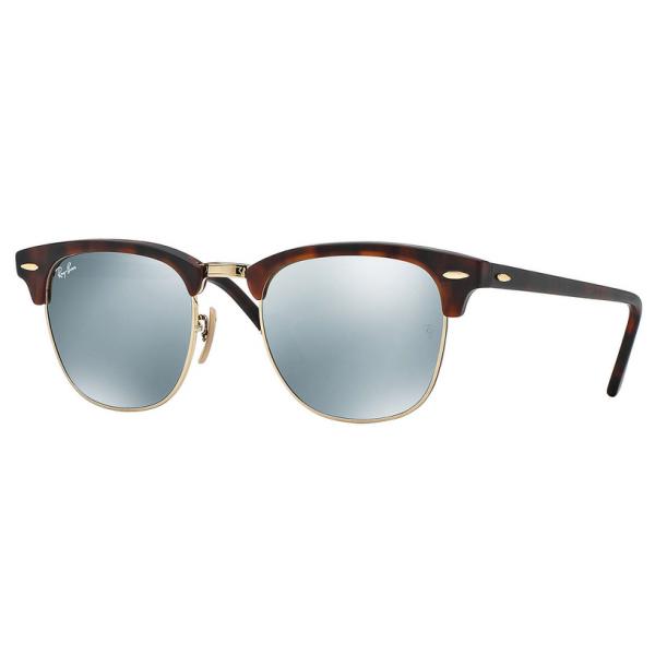 Sand Havana & Silver Mirror RB3016 Clubmaster Sunglasses