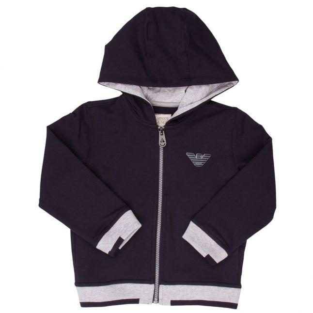 Boys Blue Logo Hooded Zip Sweat Top