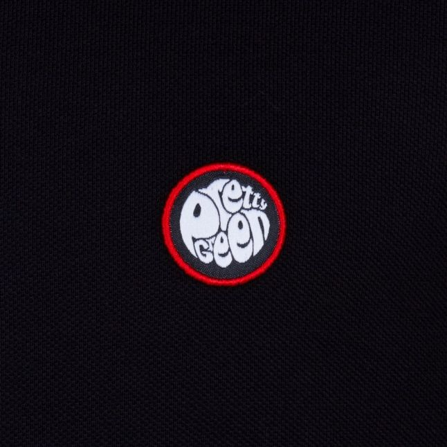 Mens Black Tipped L/s Polo Shirt