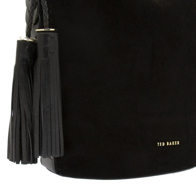 Womens Black Poilly Braided Strap Bag