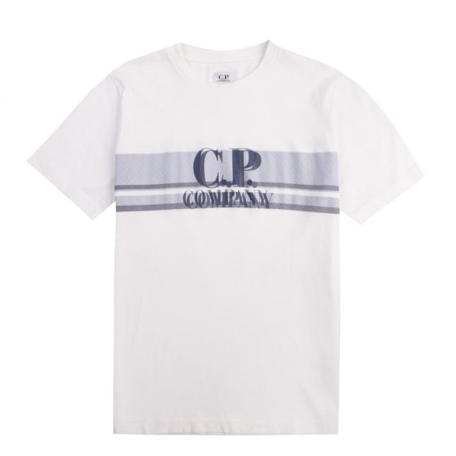Boys Gauze White Logo Stripe S/s T Shirt