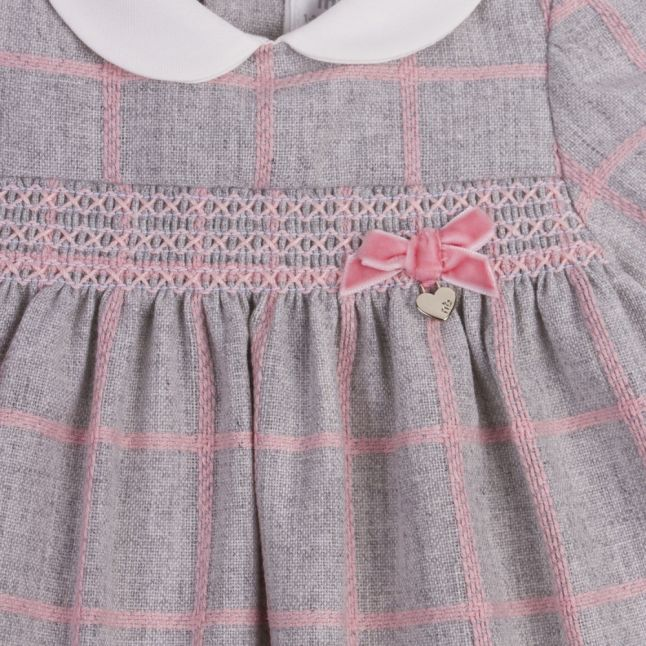 Baby Silver Plaid Bow Dress