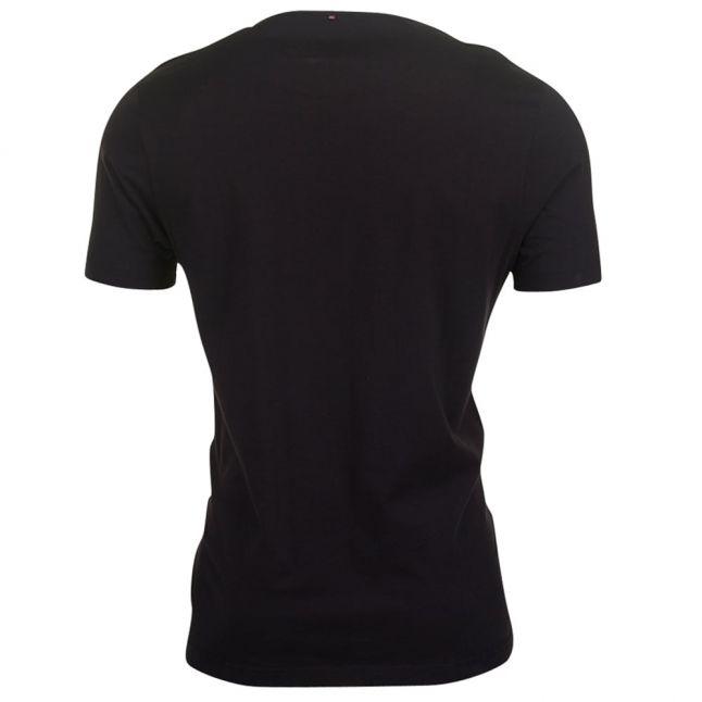 Mens Black Printed Linear S/s Tee Shirt