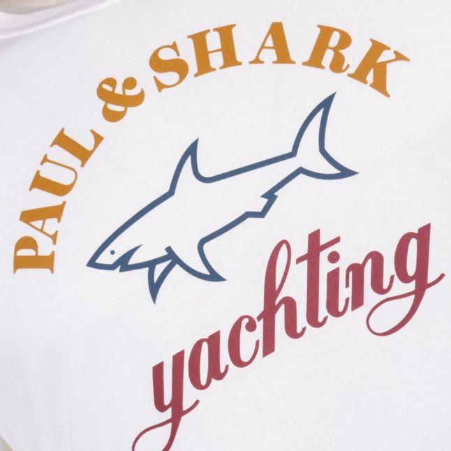 Paul & Shark Mens White Shark Fit Tri Colour S/s Tee Shirt