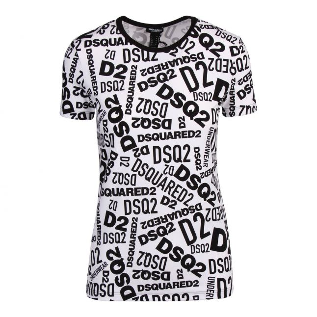 Womens Black/White Printed Logo S/s T Shirt