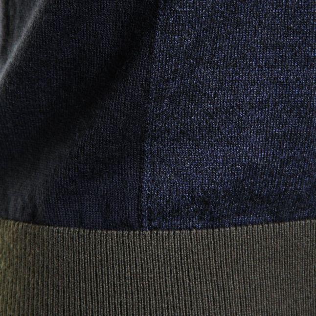 Mens Dark Blue Waywin Knitted L/s Polo Shirt