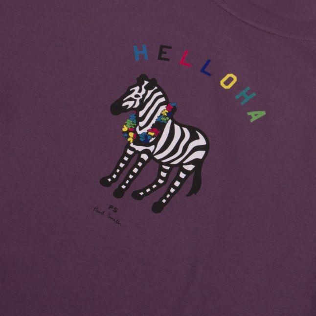 Mens Aubergine Aloha Zebra Regular Fit S/s T Shirt