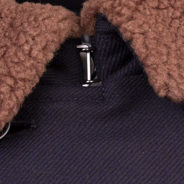 Mens Blue Double Breasted Shearling Collar Coat