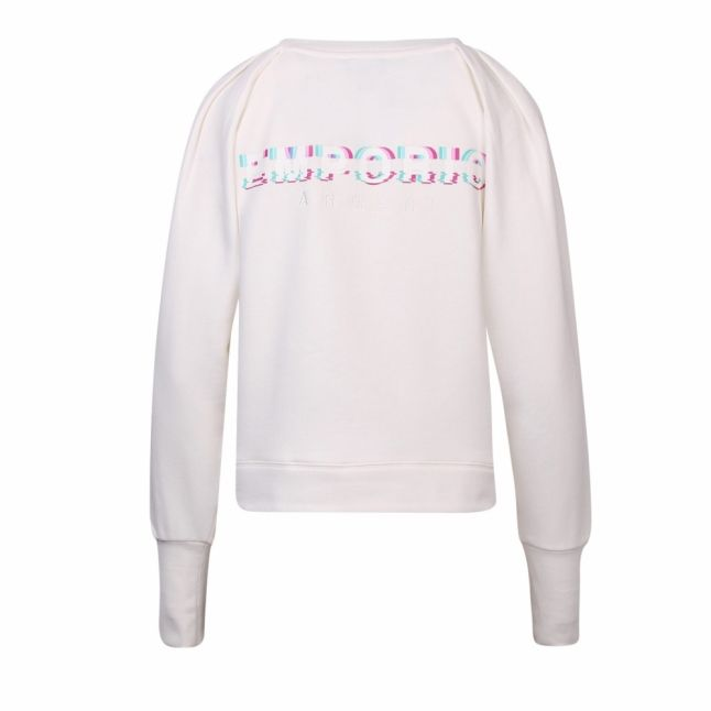 Womens White Puff Sleeve Sweat Top
