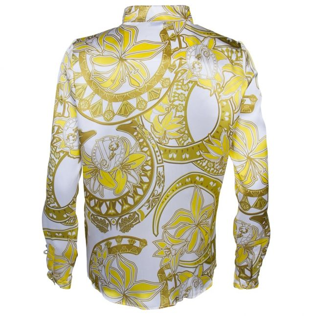 White & Gold Printed L/s Blouse