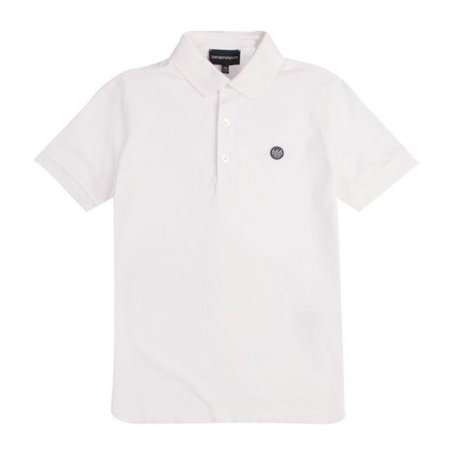 Boys White Small Rubber Logo S/s Polo Shirt