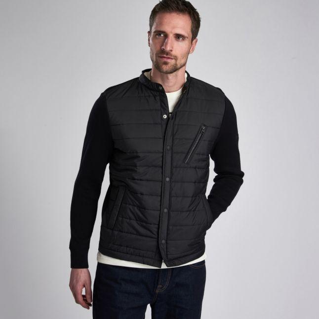 Mens Black Circuit Baffle Knitted Jacket