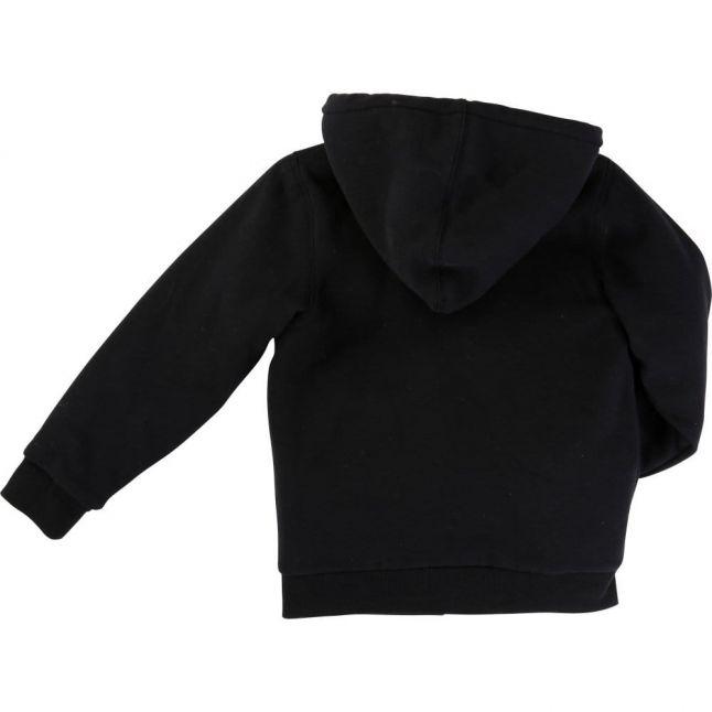 Boys Black Hooded Zip Sweat Top