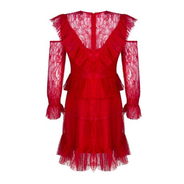 U Collection Womens Red Lace Ruffle Dress