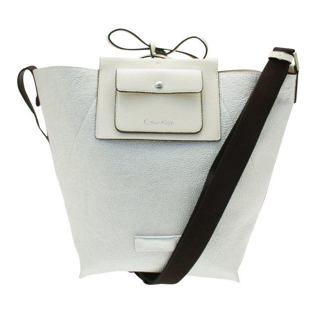Womens Powder White Isa Metalic Reversible Bucket