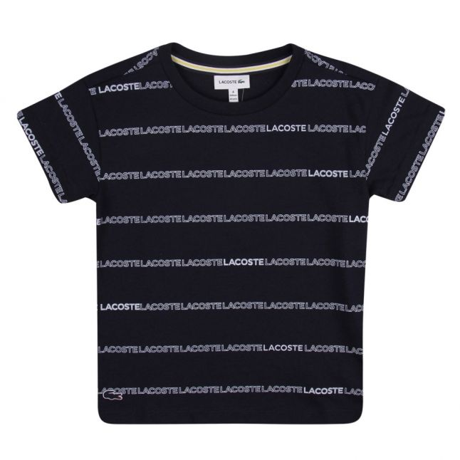 Boys Navy Branded Lines S/s T Shirt