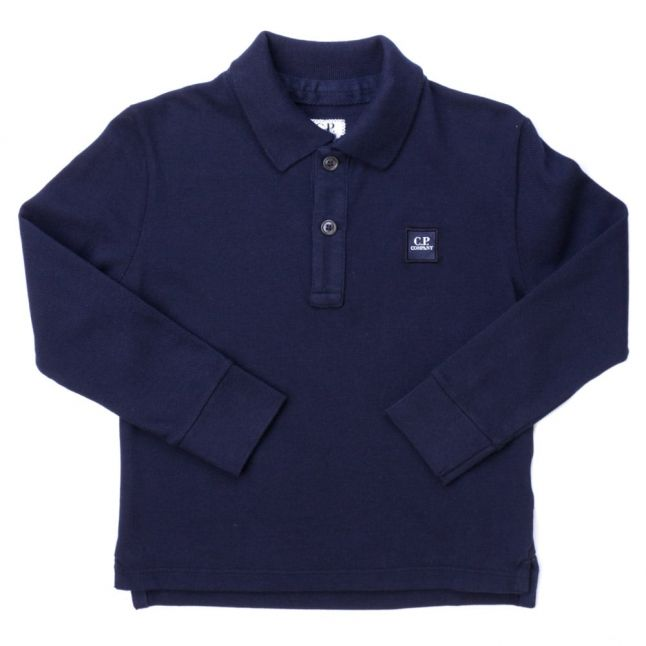 Boys Blue Chest Badge L/s Polo Shirt