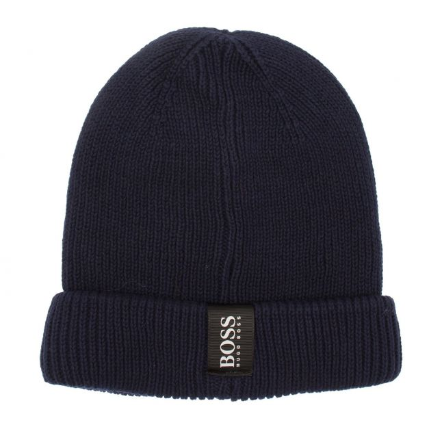 Boys Navy Branded Tab Knitted Hat