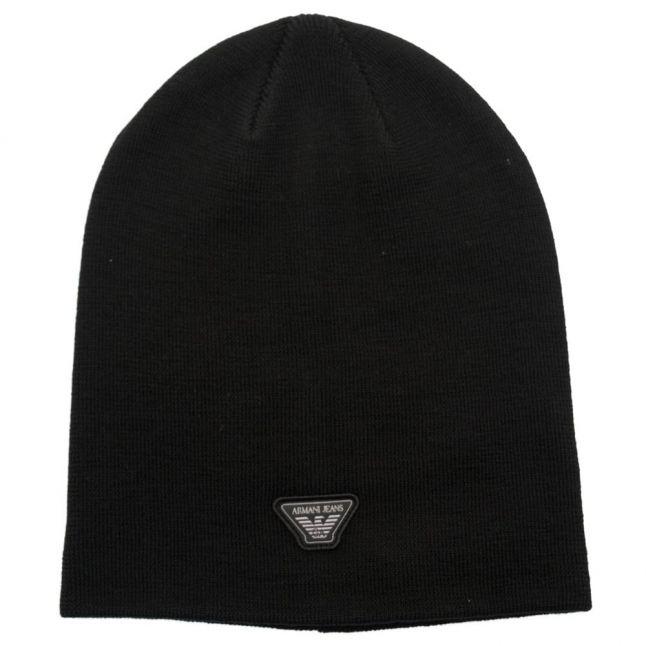 Mens Black Classic Beanie Hat