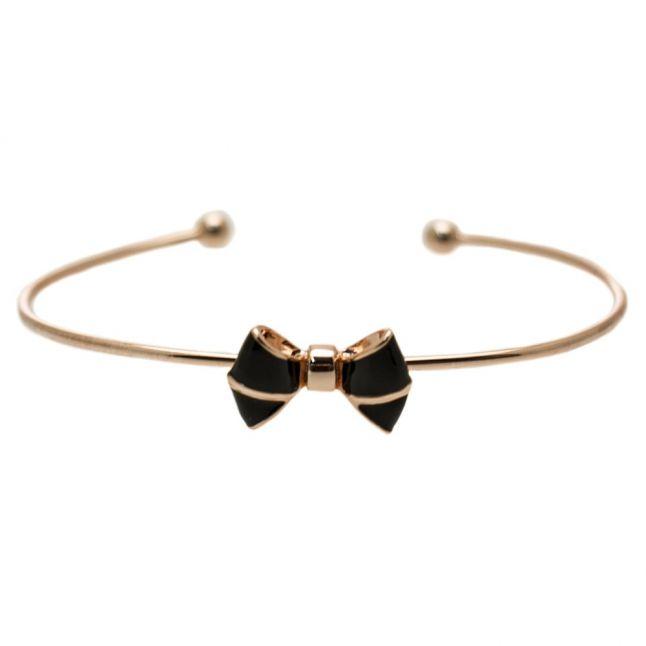 Womens Rose Gold & Black Edene Bow Fine Cuff Bracelet