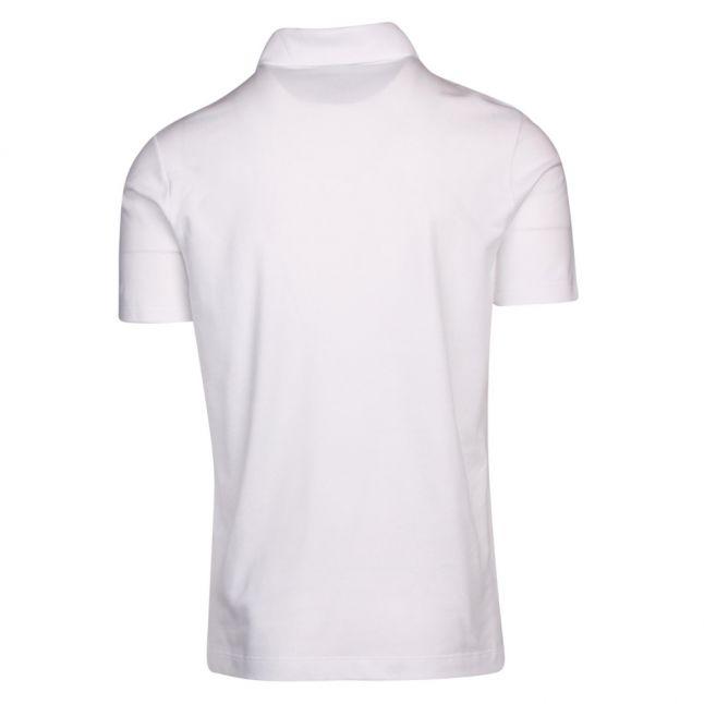 Mens White Classic Logo Custom Fit S/s Polo Shirt
