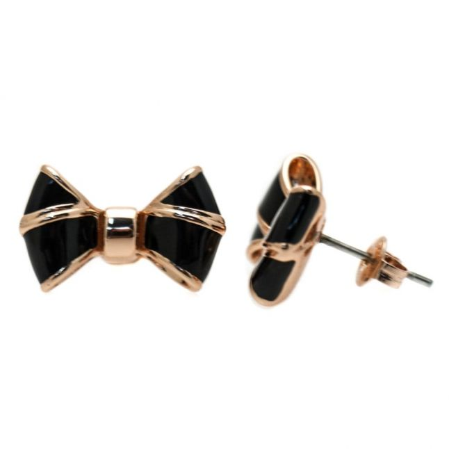 Womens Rose Gold & Black Ediee Bow Studs