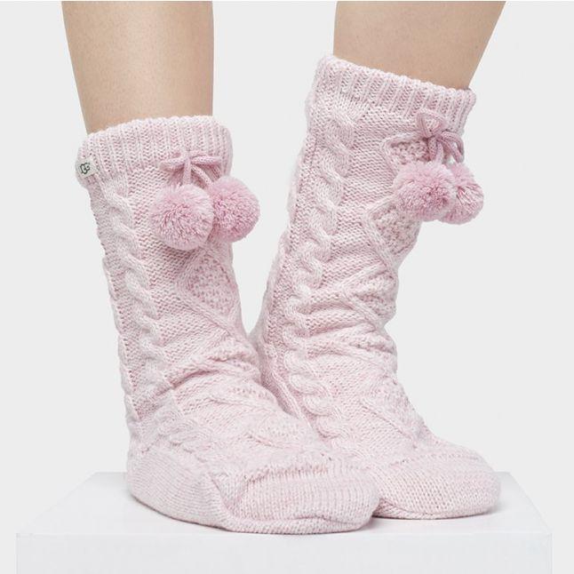 Womens Seashell Pink Pom Pom Fleece Lined Socks