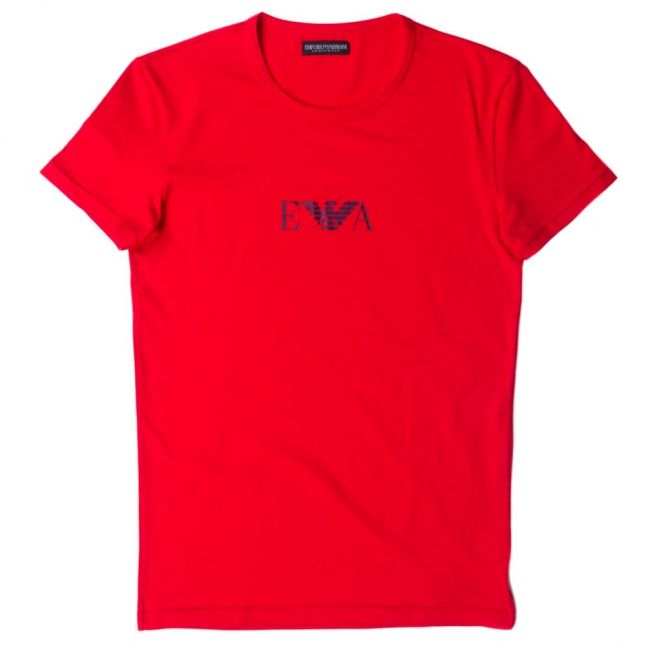 Mens Red Chest Logo Crew S/s Tee Shirt