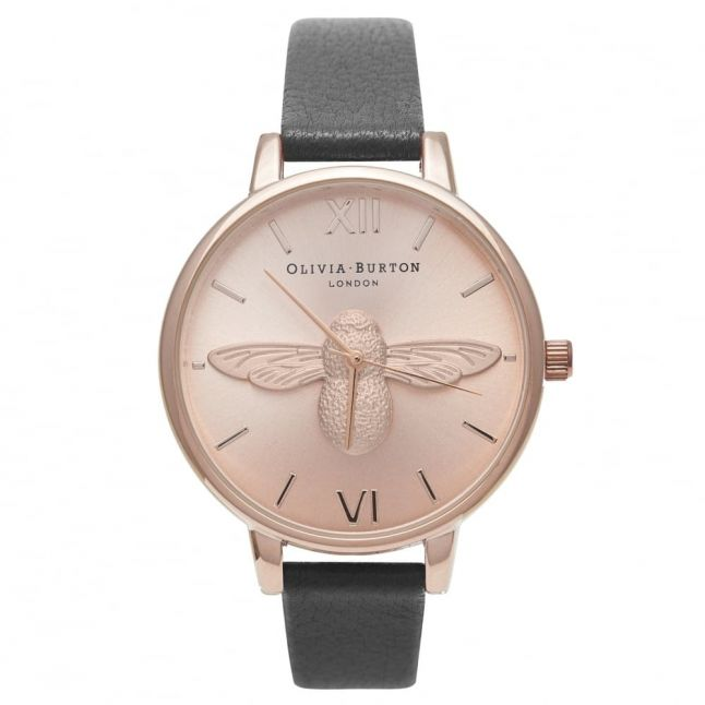 Womens Black & Rose Gold Animal Motif Moulded Bee Watch