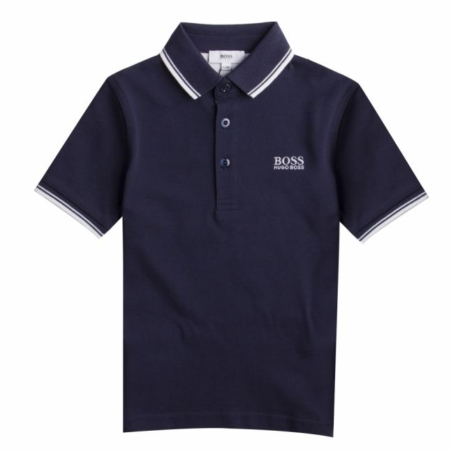 Boys Navy Tipped S/s Polo Shirt