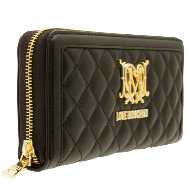 Womens Black Quilted Logo Purse
