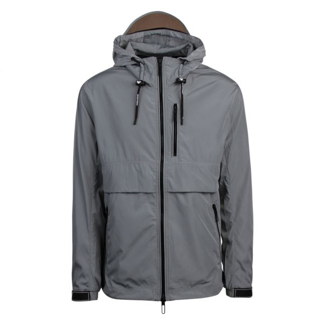 Mens Grey Branded Peak Hooded Jacket