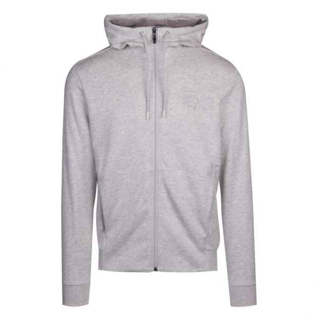 Athleisure Mens Light Grey Saggy Logo Hooded Zip Sweat Jacket