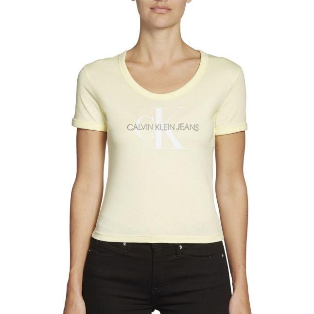 Womens Mimosa Yellow Dyed Monogram Baby S/s T Shirt