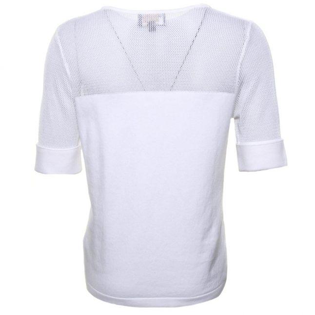 Womens White Ballotade Knitted Top
