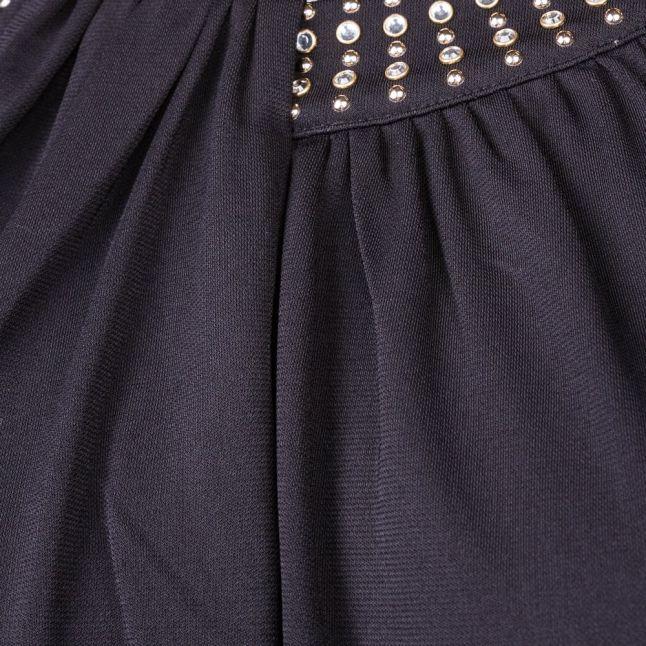 Womens Black Diamond Drape Top