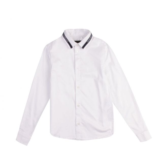 Boys White Logo Tape Collar L/s Shirt