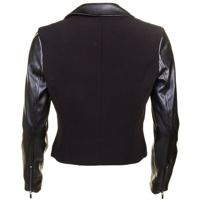 Womens Black Alana Mix Biker Jacket