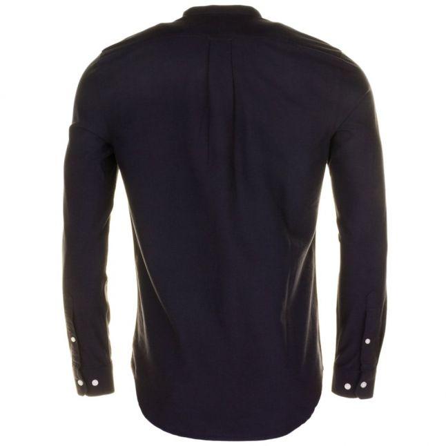 Mens Navy Brewer Grandad Slim Fit L/s Shirt