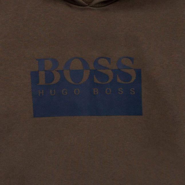 Boys Khaki Split Logo Hoodie