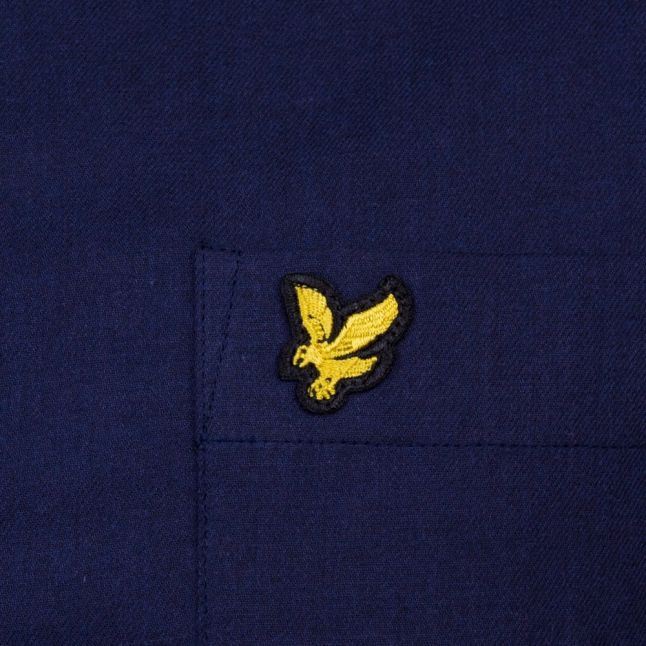 Mens Navy Marl Flannel L/s Shirt