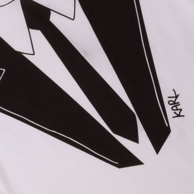 Boys White Tie Print L/s Tee Shirt